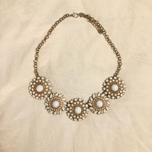 Francesca's White & Gold Statement Necklace